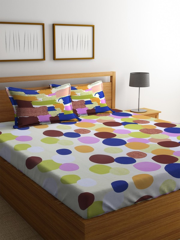 Dreamscape 140 TC Cotton Double Printed Bedsheet(1 Bedsheet with 2 Pillowcover, Blue)