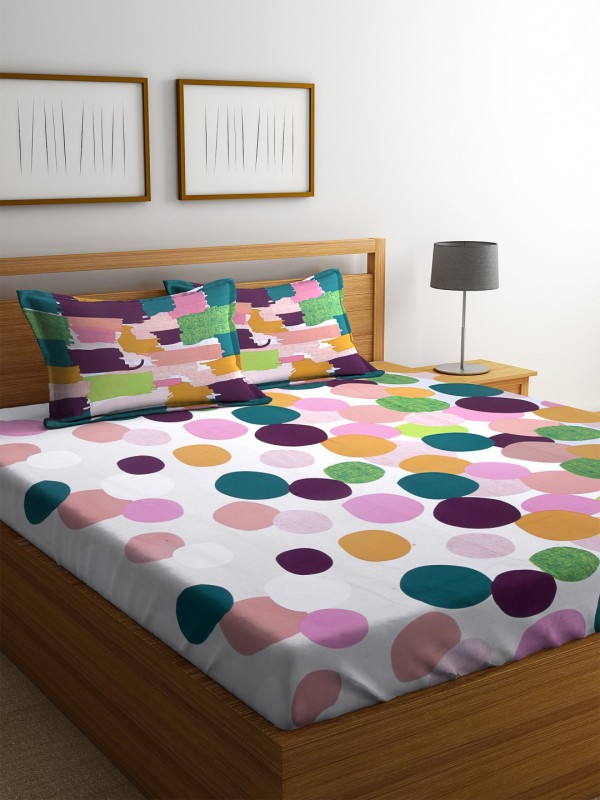 Dreamscape 140 TC Cotton Double Polka Bedsheet(1 Bedsheet with 2 Pillowcover, Green)