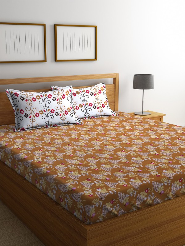 Dreamscape 140 TC Cotton Double Printed Bedsheet(1 Bedsheet with 2 Pillowcover, Mustard)