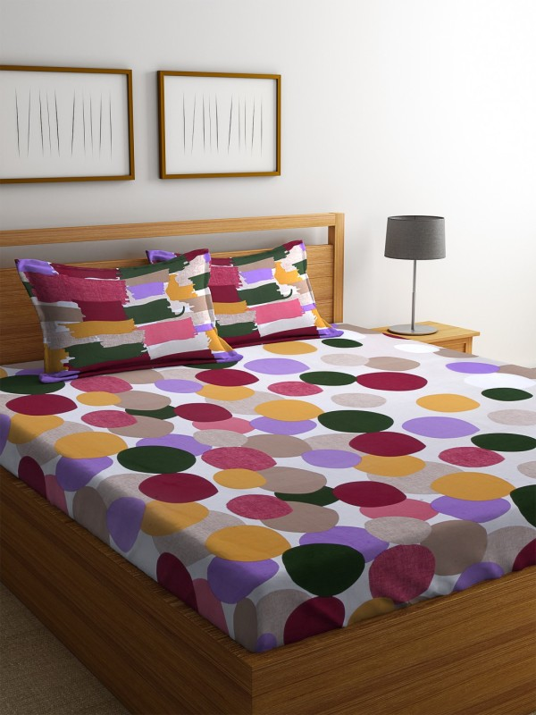 Dreamscape 140 TC Cotton Double Printed Bedsheet(1 Bedsheet with 2 Pillowcover, Maroon)