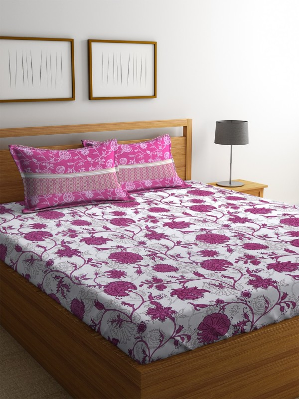 Dreamscape 140 TC Cotton Double Printed Bedsheet(1 Bedsheet with 2 Pillowcover, Red)