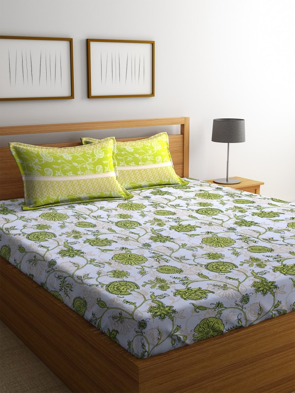 Dreamscape 140 TC Cotton Double Printed Bedsheet(1 Bedsheet with 2 Pillowcover, Green)