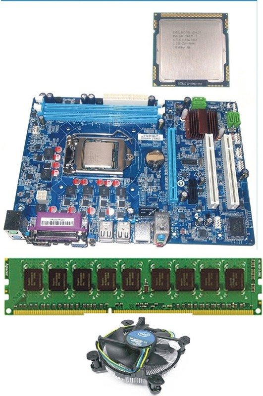 KharidiyeBasic I5-650 Pulled Out Processor With Zebronics H55 Motherboard along With 4GB DDR3 RAM and FAN For Gamers Combo Motherboard(Green)