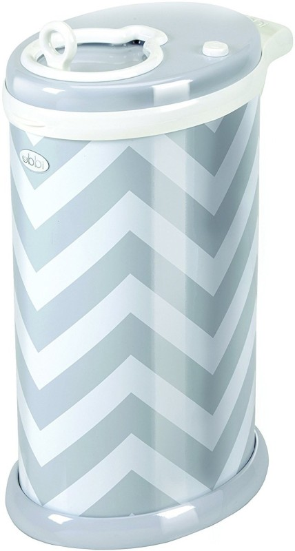 Ubbi Ubbi Diaper Pail - Gray Chevron Diaper Disposal Bin(Holds upto 50 Diapers)