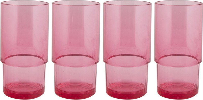 Tupperware Glass Set(420 ml, 420 ml, 420 ml, 420 ml, Red, Pack of 4)