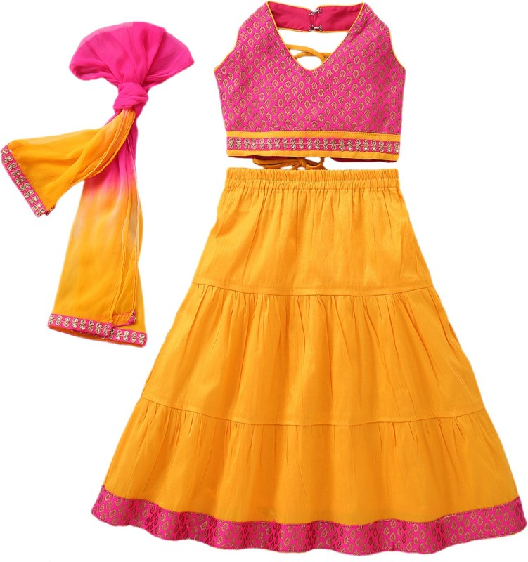 Bownbee Baby Girls Lehenga Choli Ethnic Wear Embroidered Ghagra, Choli, Dupatta Set(Pink,...