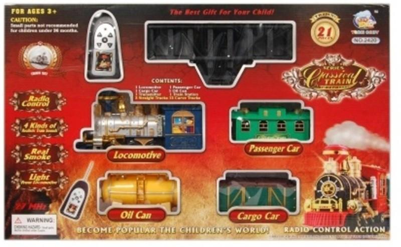 Mahvi Toys Classical Battery Operated Radio Control Smoke Train set (21 Pcs)(Multicolor)