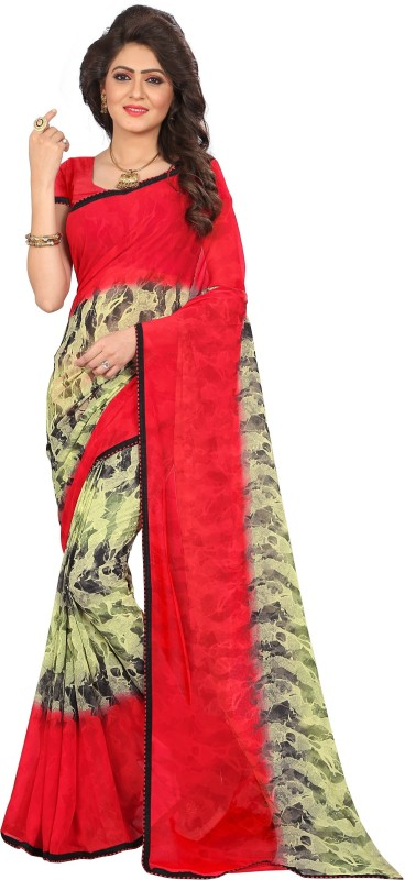 Kalaa Varsha Printed Daily Wear Synthetic Georgette Saree(Red)