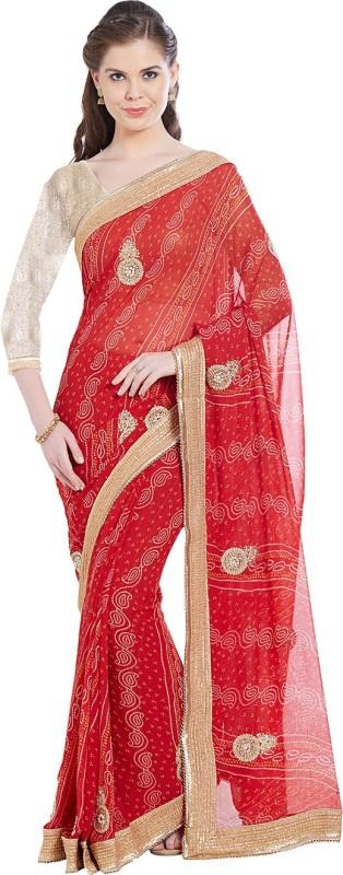Viva N Diva Paisley Bandhani Georgette Saree(Red)