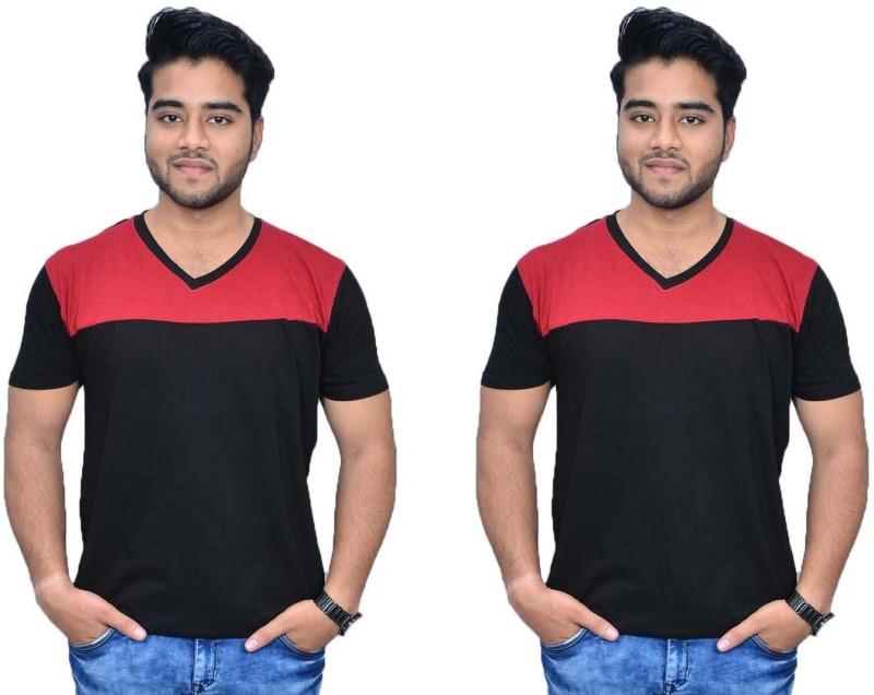 Himgiri International Solid Men's V-neck Red, Black T-Shirt(Pack of 2)