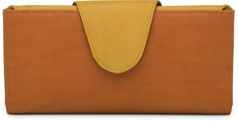 Butterflies Women Tan Artificial Leather Wallet(5 Card Slots)