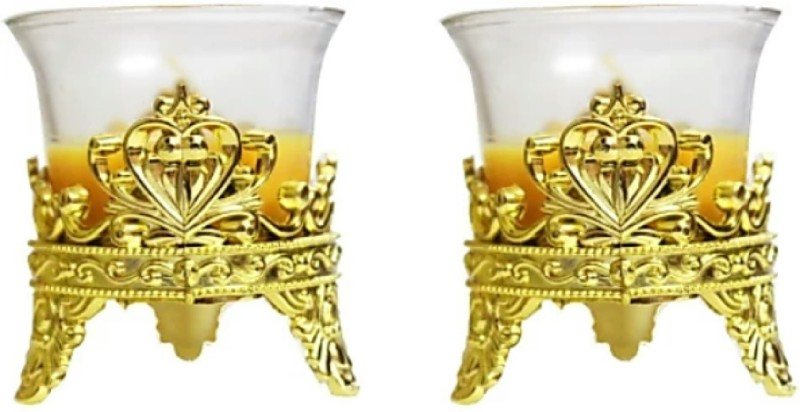madhulica MD02092 TEA LIGHT CANDLE HOLDER PACK OF 2PCS Candle(Gold, Pack of 2)