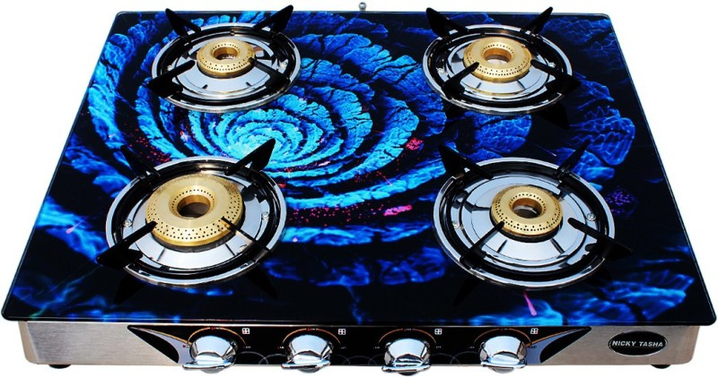NICKY TASHA Premium Glass top Glass Manual Gas Stove(4 Burners)