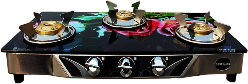NICKY TASHA PREMIUM Glass Manual Gas Stove(3 Burners)