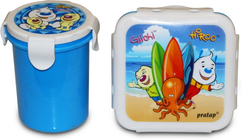Akshat HIGH QUALITY JUNIOR LUNCH BOX WITH GLASS HYPER LOCKED 2 Containers Lunch Box(200 ml)