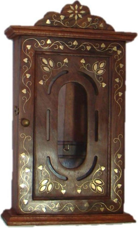 CraftOnline brown key stand and wooden Wooden Wall Shelf(Number of Shelves - 1, Brown)