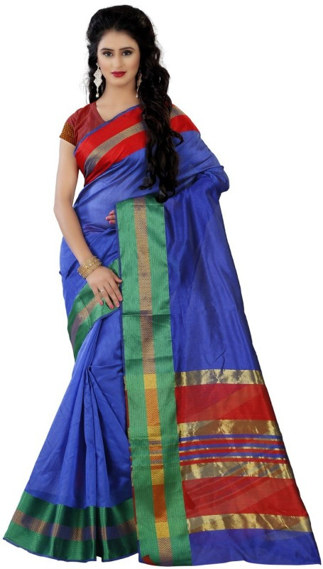 Trendz Style Striped Fashion Cotton Silk Saree(Blue)
