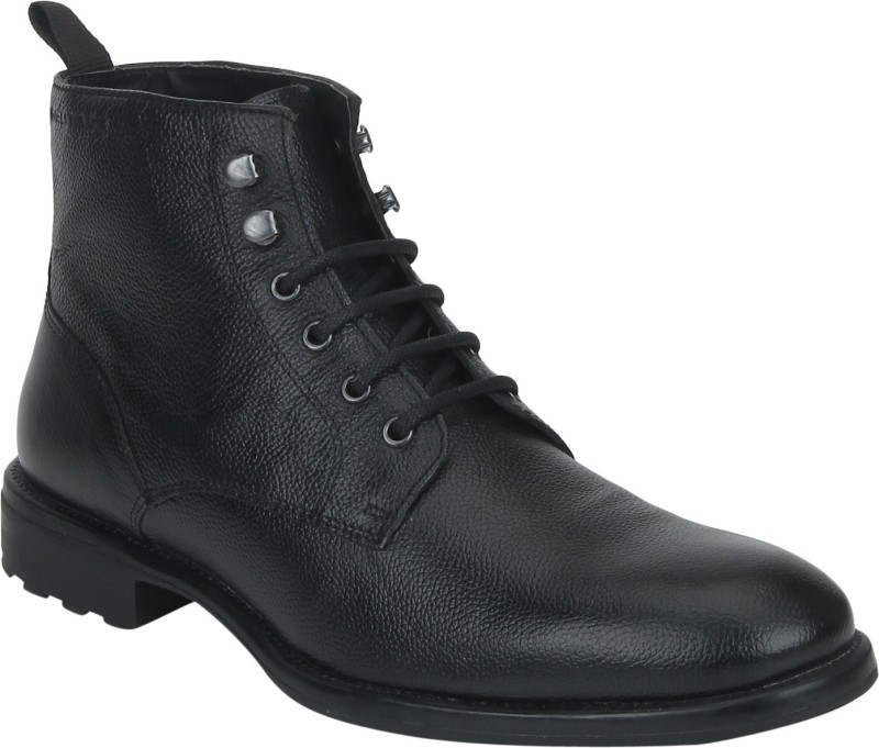 Red Tape Men Leather Biker Boots For Men(Black)