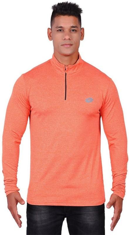 Lotto Solid Men Round Neck Orange T-Shirt