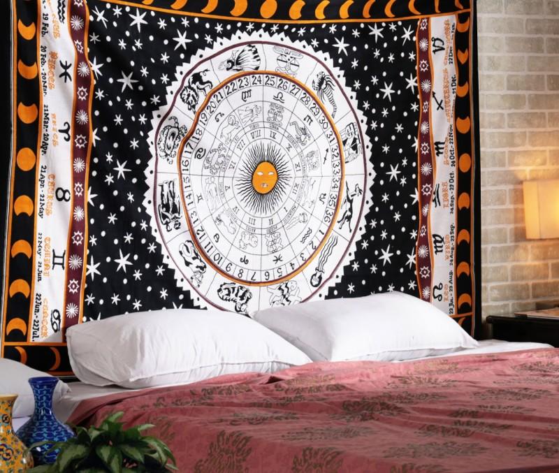 Rajrang Living Room Cotton Mandala Tapestry(Orange)