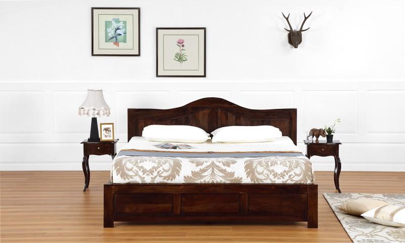 Furnspace Alias Bed Solid Wood King Bed(Finish Color - Walnut Sheesham Dark)