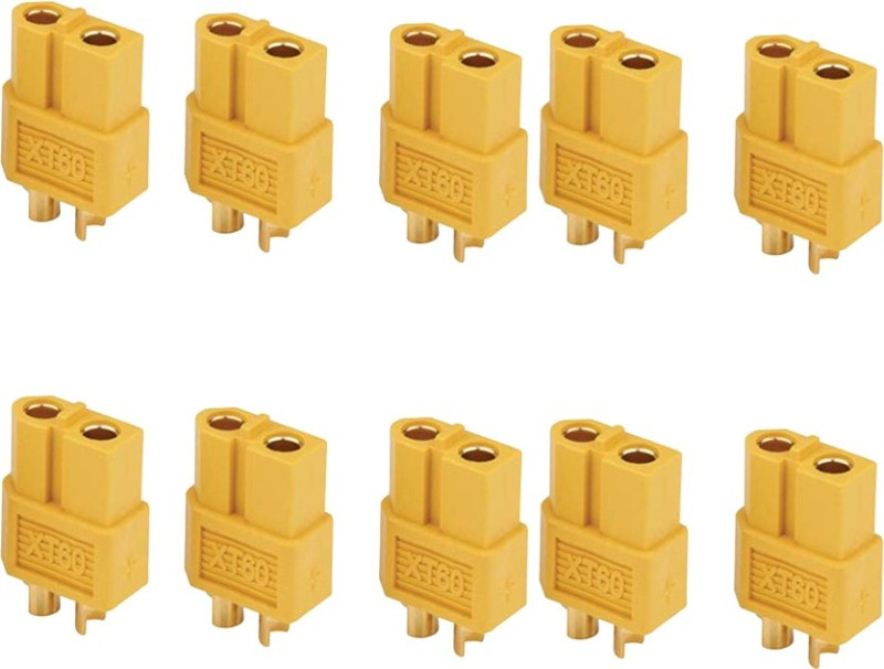 Futaba XT60 Male+ Female Bullet Connectors Plugs for RC Lipo Battery - 5 Pair ( 10 Pcs ) Cable Drop Clip(Mullti Color)