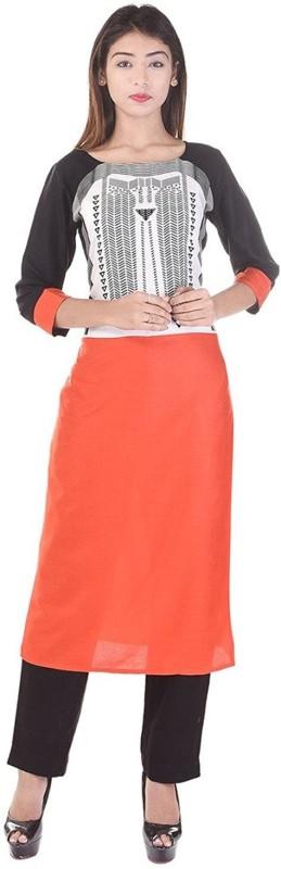 Luvit Casual Printed Women Kurti(Orange)