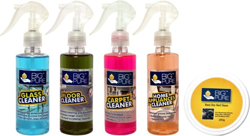 BIG Pure Glass Cleaner 200 ml , Floor Cleaner 200 ml, Carpet Cleaner 200 ml, Home Appliances Cleaner 200 ml, Heavy Duty Hand Cleaner 200 g(800 ml)