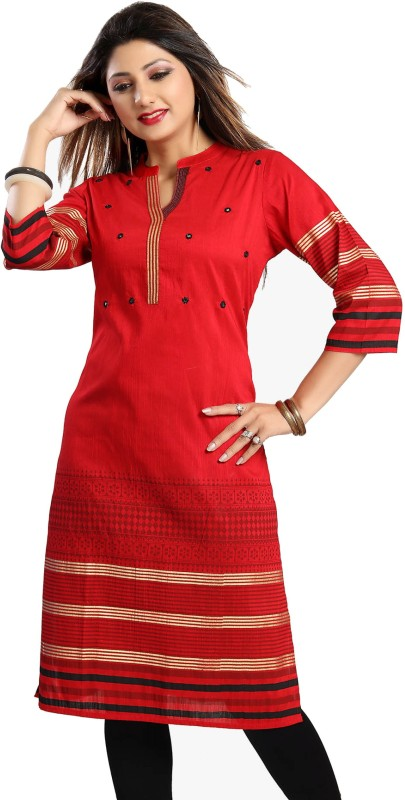 Meher Impex Printed Women Straight Kurta(Red, Black)