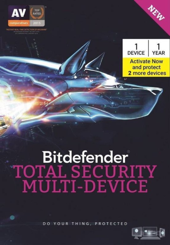 Bitdefender -Total Security Multi-Device 1 (+ 2 device free on activation) , 1 Year (CD) Latest Version