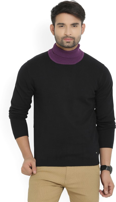 Arrow New York Solid Turtle Neck Casual Mens Black, Purple Sweater