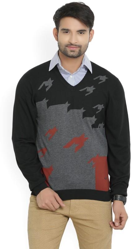 Arrow New York Self Design V-neck Casual Men's Black, Grey Sweater