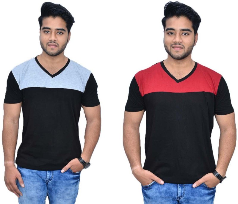 Himgiri International Solid Men's V-neck Grey, Red, Black T-Shirt(Pack of 2)