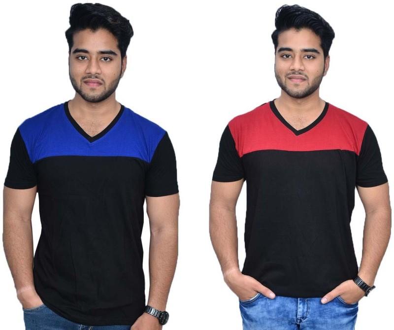 Himgiri International Solid Men's V-neck Blue, Red, Black T-Shirt(Pack of 2)