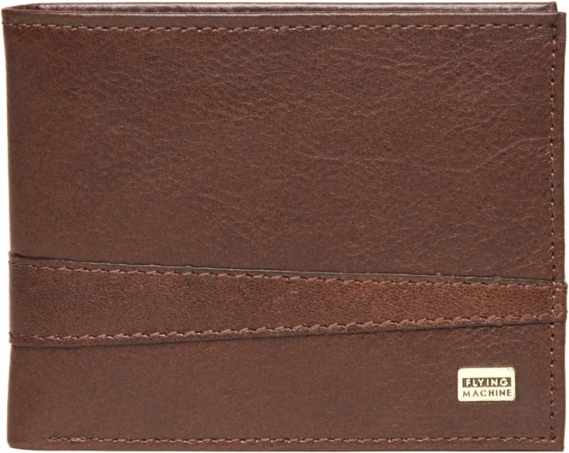 Flying Machine Men Brown Genuine Leather Wallet(4 Card Slots)