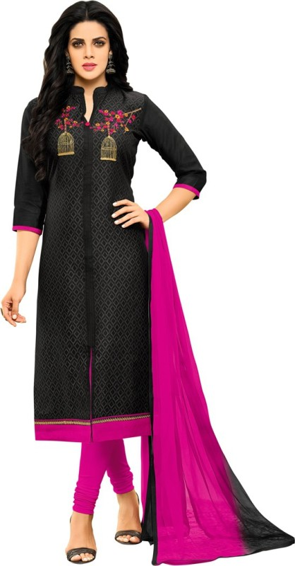Saara Poly Silk Self Design, Solid, Embroidered Salwar Suit Dupatta Material(Un-stitched)