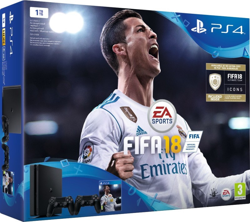 Sony PlayStation 4 (PS4) Slim 1 TB with FIFA 18(Jet Black, Extra DualShock 4 Controller)