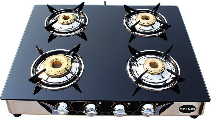 NICKY TASHA PREMIUM Glass Manual Gas Stove(4 Burners)