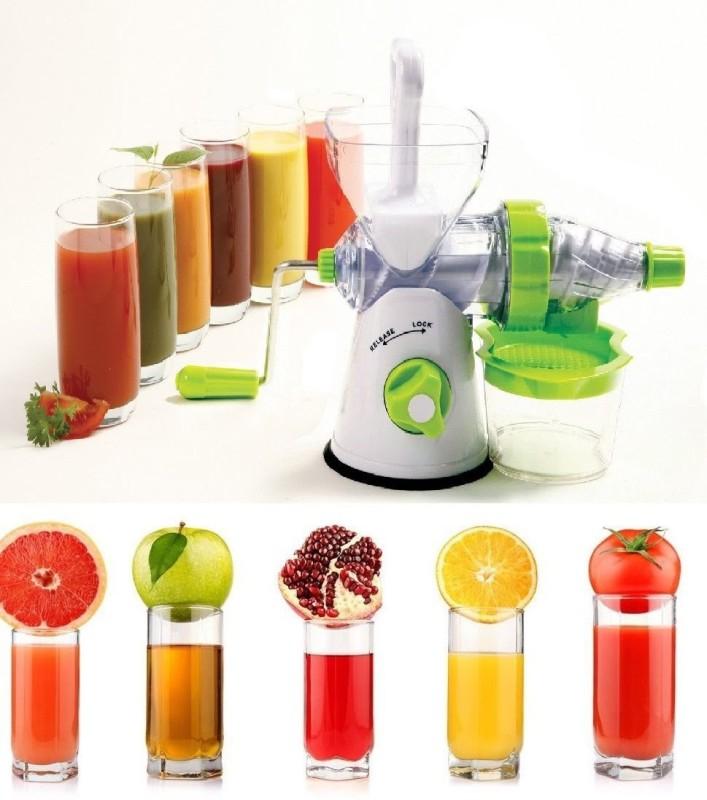 Promptout National Mega Plus Juicer Industries Juicer, Fruit & Vegetable Juicer, Manual Hand Juicer, Fruit Juicer Handel Vacuum Base Plastic Hand Juicer(White, Green Pack of 1)