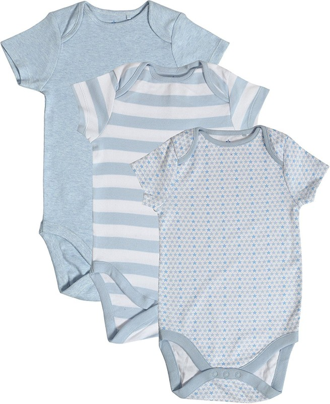 Second Skin Romper For Boys & Girls Casual Solid, Striped Cotton(Light Blue, Pack of 3)