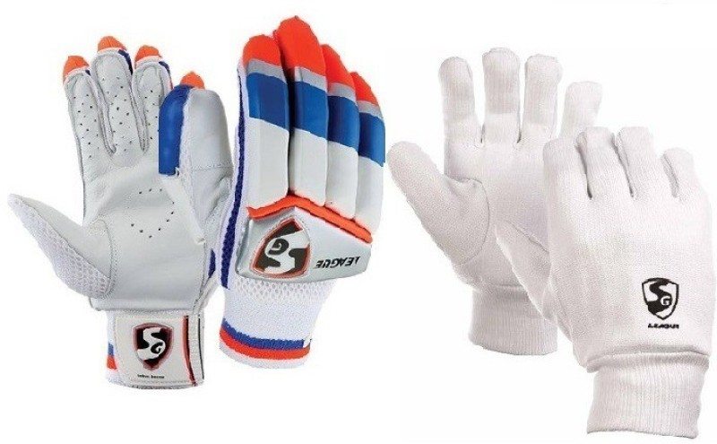 SG combo Of two ,one Pair of League (Traditional) batting Gloves and one Pair of League Inner Gloves (Youth) (Color On Availability)- Cricket Kit