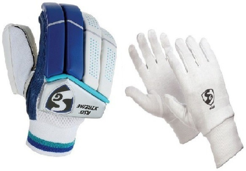 SG Combo Of Two ,One Pair Of Rsd Xtreme (Light Weight) batting Gloves And One Pair Of Club Inner Gloves (Youth) (Color On Availability)- Cricket Kit