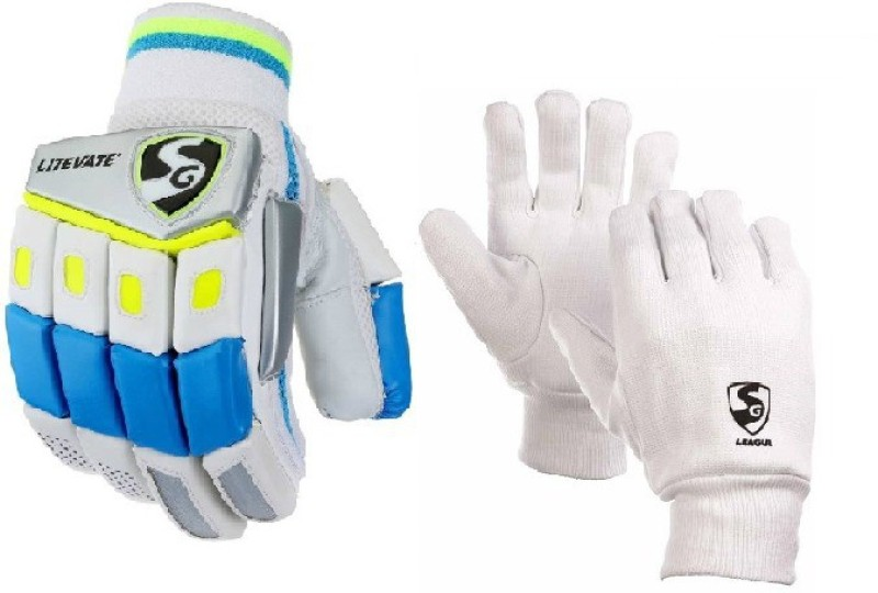 SG Combo of Two, One Pair of Litevate (Lightweight) Batting Glove and One Pair of League Inner Glove (Youth) (Color On Availability) - Cricket Kit