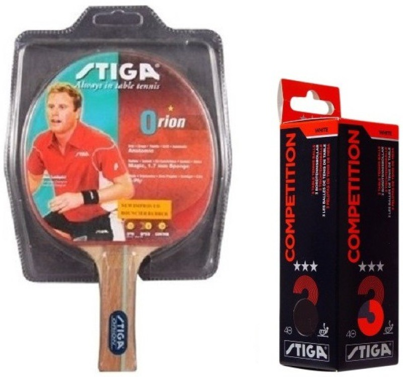 Stiga Combo of Two , One Orion Table Tennis Racquet and One COMPETITION Ping Pong Ball- Table Tennis Kit