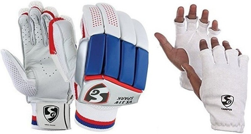 SG Combo of two, one pair of Vs 319 Spark (Lightweight) batting gloves and one pair of Campus inner gloves (Youth) (Color On Availability)- Cricket Kit