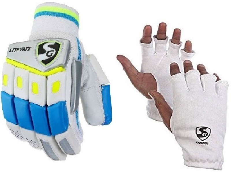 SG Combo of Two, One Pair of Litevate (Lightweight) Batting Glove and One Pair of Campus Inner Glove (Youth) (Color On Availability) - Cricket Kit