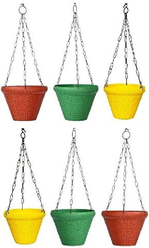 Truphe Juhi Pot Plant Container (Set of 6), 9 inch - Multicolour...