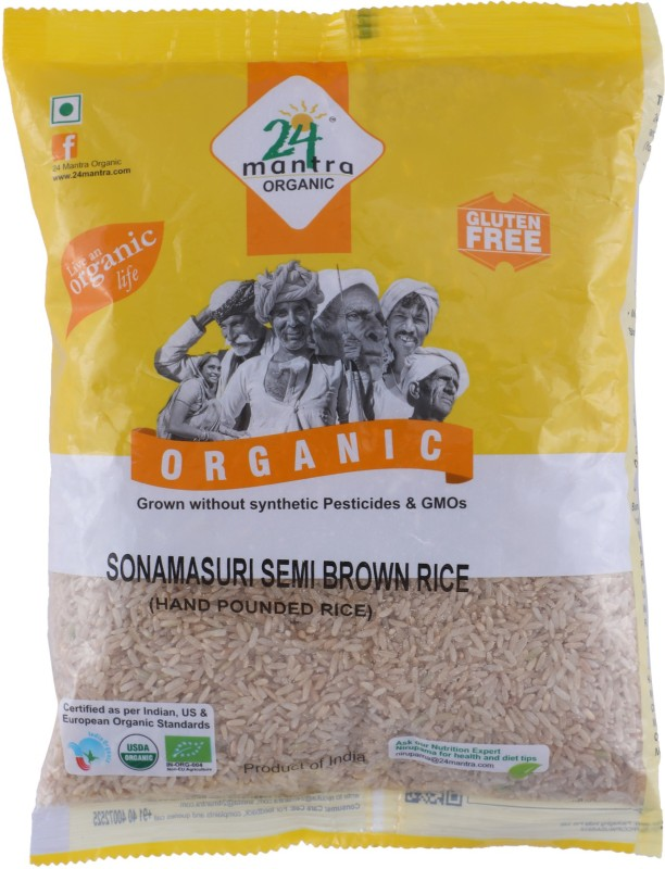 24 Mantra Organic Hand Pounded Semi Brown Sona Masoori Rice(1 kg)