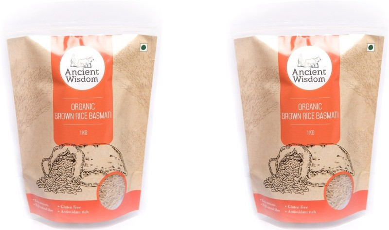 Ancient Wisdom Organic Basmati Rice Brown Pack of 2 x 1 Kg Brown Basmati Rice(2 kg)