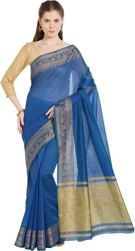 Jashn Solid Fashion Tissue Saree(Blue)